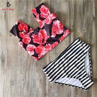 Ariel Sarah Brand 2017 Newest Floral Swimsuit Swimwear Women Off Shoulder Bikini High Waist Bikinis Set