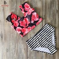 Ariel Sarah Brand 2017 Newest Floral Swimsuit Swimwear Women Off Shoulder Bikini High Waist Bikinis Set