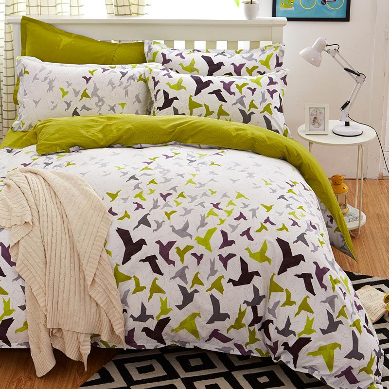 beddengoed set 5 size green bird beddengoed set dekbedovertrek Koreaanse laken + dekbedovertrek + kussensloop roze bed cover beddengoed set