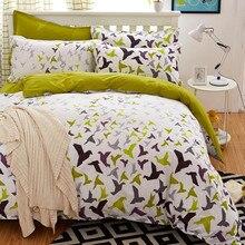 Jogo do fundamento tamanho 5 pássaro verde conjunto de cama set capa de edredão coreano folha de cama + capa de edredon + fronha rosa tampa de cama roupa de cama conjunto