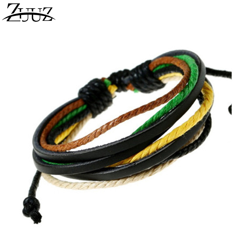 ZUUZ 2018 wrap bracelets bangles for men women jewelry accessories for couples leather friend chain link bracelet