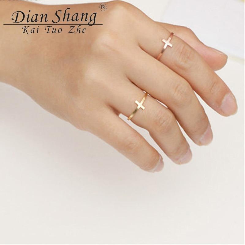 DIANSHANGKAITUOZHE Vintage Finger Anillos Religious Cross Ring Men Jewelry Cute Metal For Women