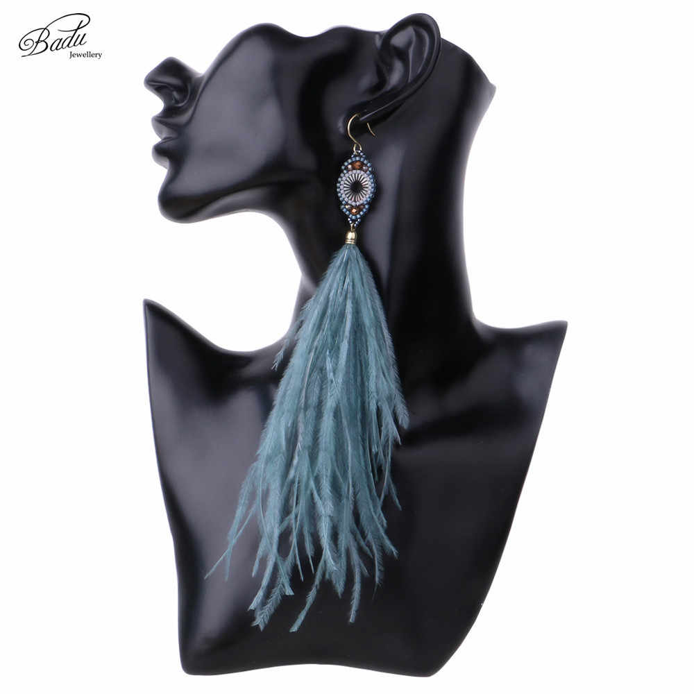 Badu Blue Feather Earrings Long Ostrich Feathers Women Vintage Earring 2017 Bohemian Costume Jewelry Original Design Handmade
