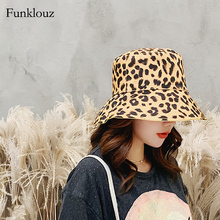 Funklouz Leopard Print Bucket Hat Womens Double-sided Summer Sun Protection Caps for Ladies Collapsible Flat Top Fishing Sunhats