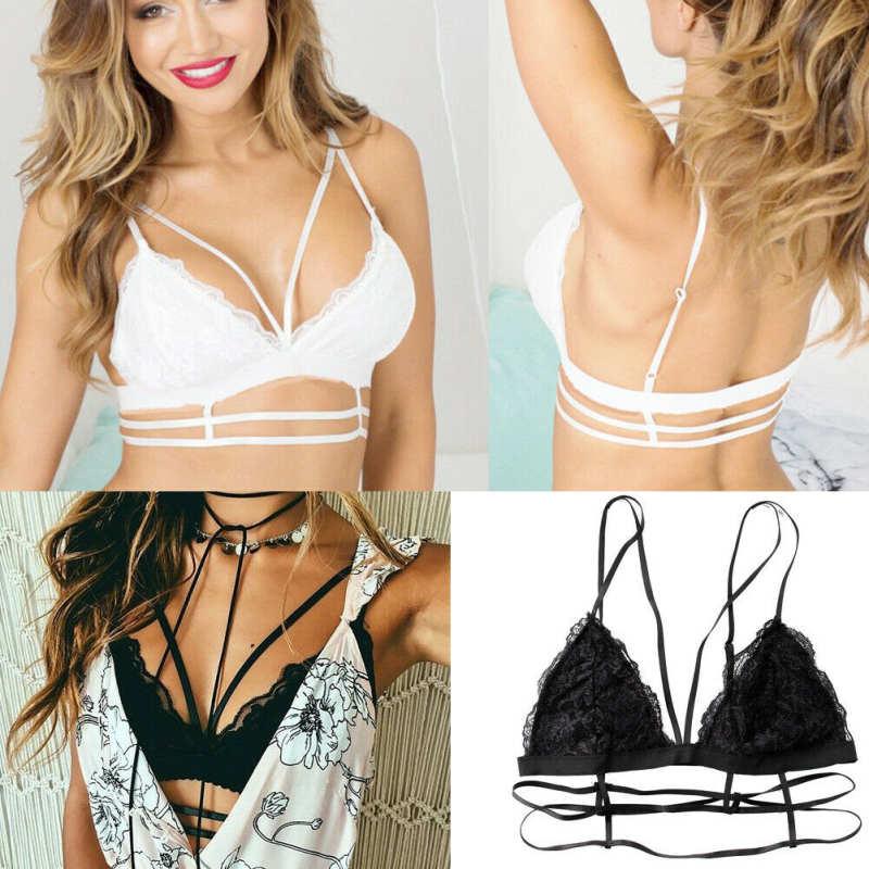 Fashion Women Push Up Bra Underwear Lingerie Black Lace Trim Bralette Crop Top Soild Color Summer Exotic Apparel