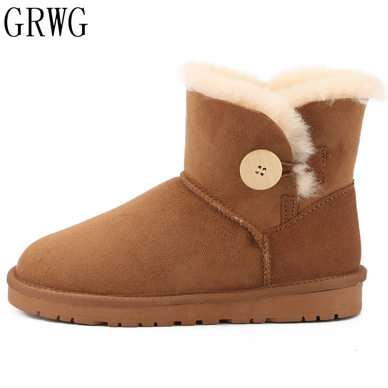 GRWG Women Shoes Real Sheepskin 2018 New Style Winter Classic Snow Boots Genuine Sheepskin Women Boots Top Quality Women Shoes цена