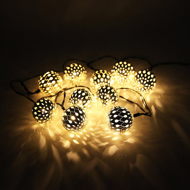 10 LED String Fairy Lights Morocco Ball Style for Indoor or Outdoor Events, Gardens, Homes, Wedding, Christmas Party, Birthdays