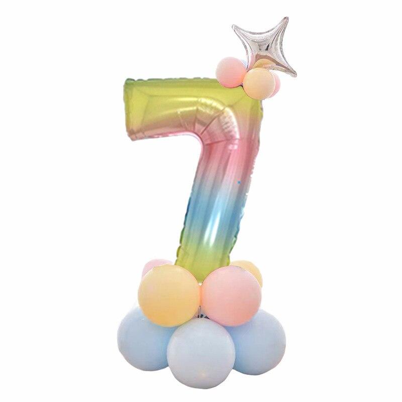 32 дюймов фольга градиент воздушные шары в форме цифр Набор цифр шар с днем рождения воздушные шары вечерние украшения дети мультфильм шляпа игрушка - Цвет: 7