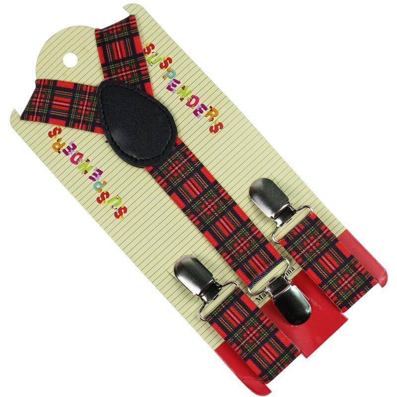 Winfox 2.5 Cm Width Children Suspenders Boys Girls For Braces Black White Checker Clip-on Adjustable Elastic Suspenders