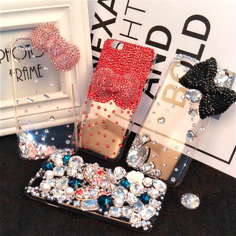 1 stücke Farbe Kristall Handy Aufkleber Glänzenden Strass Diamant Aufkleber DIY Für Alle Art Telefon Aufkleber Decor