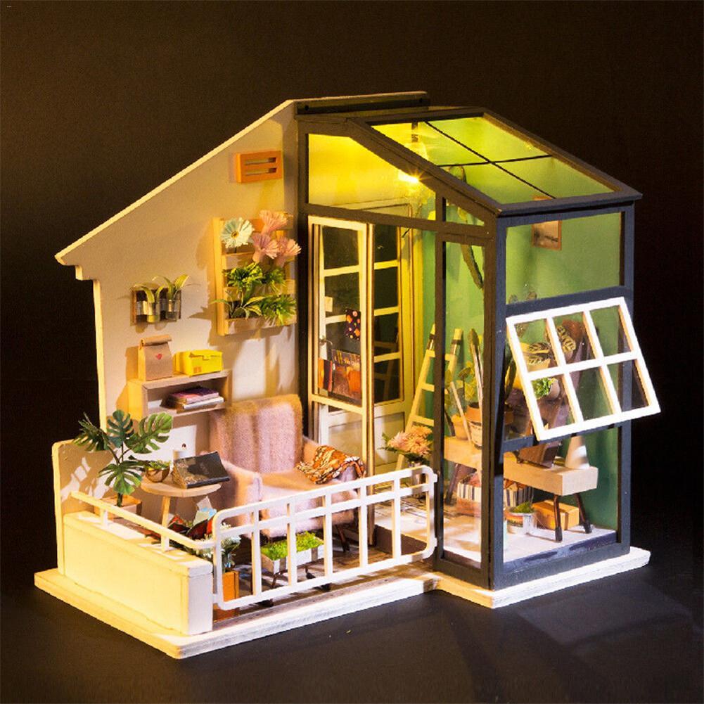 Miniature Doll House City Coffee Bar Shop DIY Wooden Dollhouse With ...