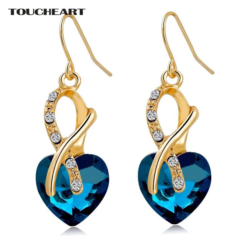 TOUCHEART Lujo AAA Cubic Zirconia Pendientes Pendientes de Joyería de Moda de Color Oro Cristal Corazón Pendientes de Gota para Las Mujeres Pendiente