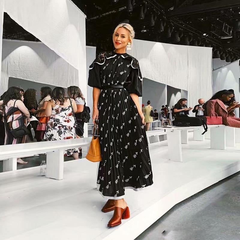 Qualité Vintage 2019 Femmes Longue Manches De Auto Bohème Soie Noir Mousseline En Imprimé Haute Robe Floral Bouffantes Portrait Maxi 6qgBxrXg