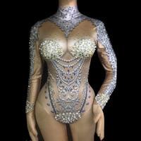 Sparkly Rhinestones Pearl Shells Bodysuit Long Sleeve Skinny Catsuit Nightclub Female Singer DJ DS Costume Pole Dance Stage Wear