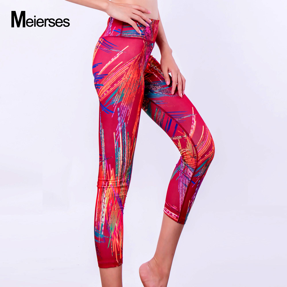 13ffa6f43c838 MEIERSES Sports Wear for Women Elasticity High Weight 3 4 Length Leggings  Fitness Clothing Workout Gym Wear Plus Size Yoga Pants-in Yoga Pants from  Sports ...