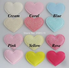 PA0065 Beautiful Padded Patches Heart shape 38mm*45mm Assorted Colors 120pcs stick on Felt for headwear accessories