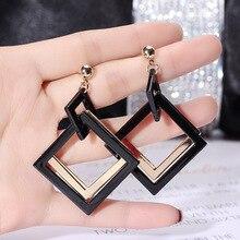 Euro-American retro exaggerated acrylic Korean Earrings geometric long earrings fashionable temperament
