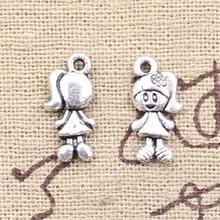 15pcs Charms lovely girl 15x7mm Antique Making pendant fit,Vintage Tibetan Silver,DIY bracelet necklace