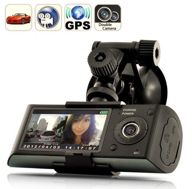 Free Shipping X3000 Dual Lens Vehicle Car DVR Camera Video Recorder GPS G-Sensor