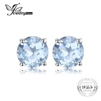 Fashion 2ct Natural Stone Sky Blue Topaz Stud Earrings Round Cut Real Pure Solid 925 Sterling