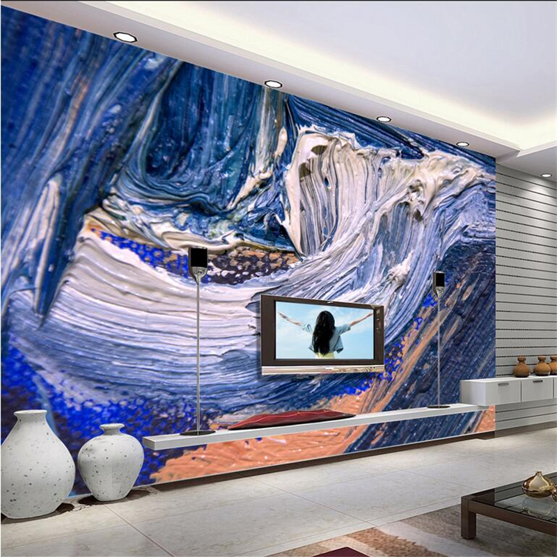 Custom 3d Murals Abstract Oil Painting Waves Embossed Wall Paper for Kids Room Thicken TV Background Restaurant Study Bedroom shinehome black white cartoon car frames photo wallpaper 3d for kids room roll livingroom background murals rolls wall paper