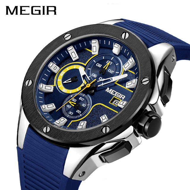 MEGIR Chronograph Men's Sport Watch Big Dial Silicone Quartz Military Army WristWatch Men Clock Relogio Masculino Stop Watches
