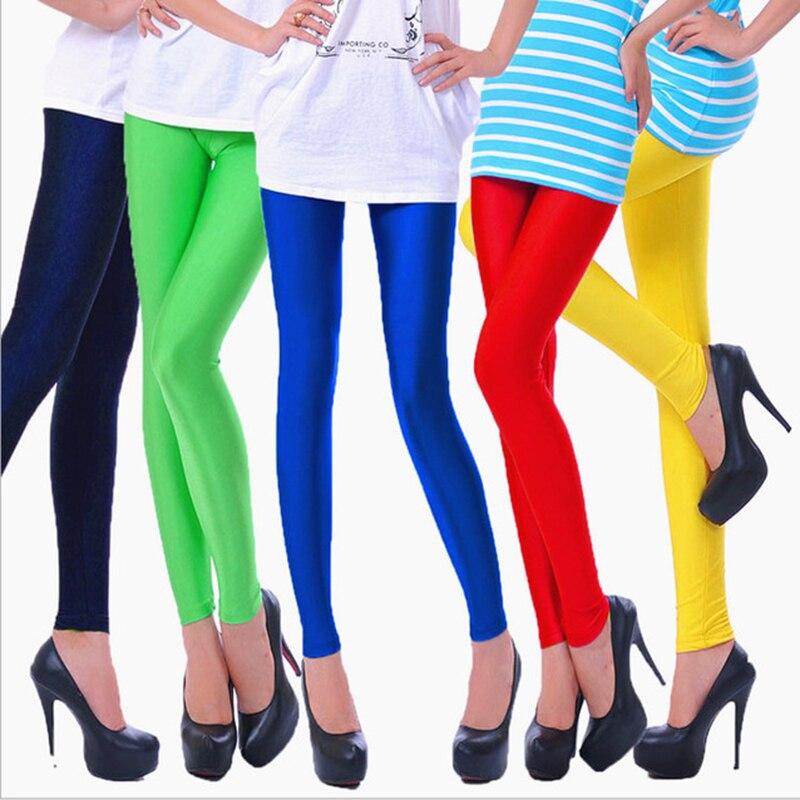NDUCJSI Shiny Leggings Women Skinny Spandex Polyester Leggings Neon Spandex Leggings Ladies Stretch Dancing Fitness Leggings