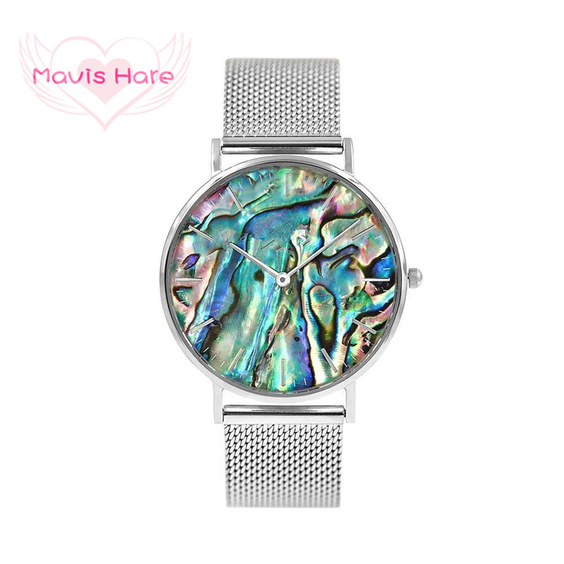 Mavis Hare Ocean Series Abalone Silver Mesh Watches Nature Seashell Women Wrist Watches with Stainless Steel Mesh Bracelet Bands