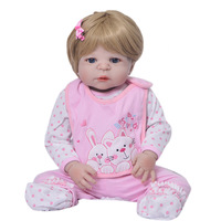23inch reborn full Silicone Reborn Dolls Baby Realistic Doll Reborn 55cm collection bonecas Reborn Doll For Girls bathe toys