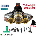 3T6 9000 lumens led headlight headlamp White yellow lights CREE XML T6 head lamp rechargeable18650 battery head flashlight torch