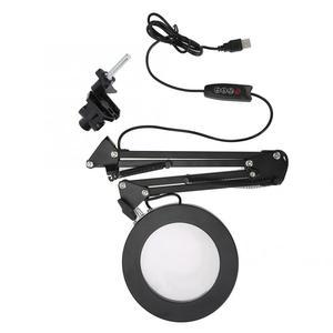 Image 4 - 5X USB увеличительное стекло с светодиодный светильник Гибкий Настольный зажим сторонняя пайка/чтение/Ювелирные изделия Лупа настольная лампа лупа