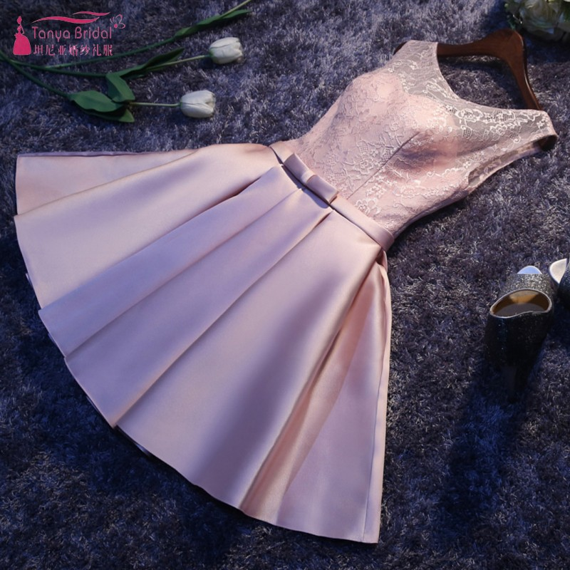 A Line Satin Bridesmaid Dresses Lace Up Knee Length Wedding Guest Party Dress In Stock Maid Of Honor  DQG266