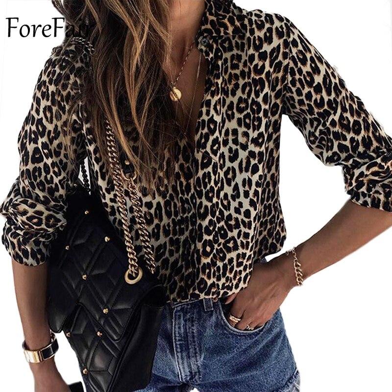 Forefair Winter Plus Size Loose Leopard Blouse Women 2019 Vintage Long Sleeve Office Animal Print Blouse Shirts Women Clothing
