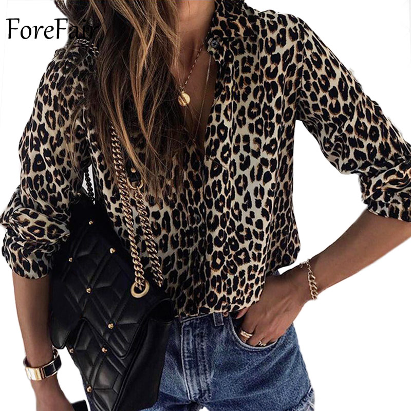 Forefair Winter Plus Size Loose Leopard   Blouse   Women 2019 Vintage Long Sleeve Office Animal Print   Blouse     Shirts   Women Clothing