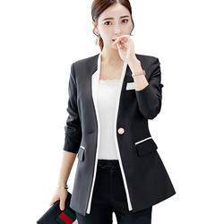 Лидер продаж Для женщин Демисезонный плюс Размеры корейский Тонкий длинный рукав маленький Блейзер Кнопка лоскутное пальто