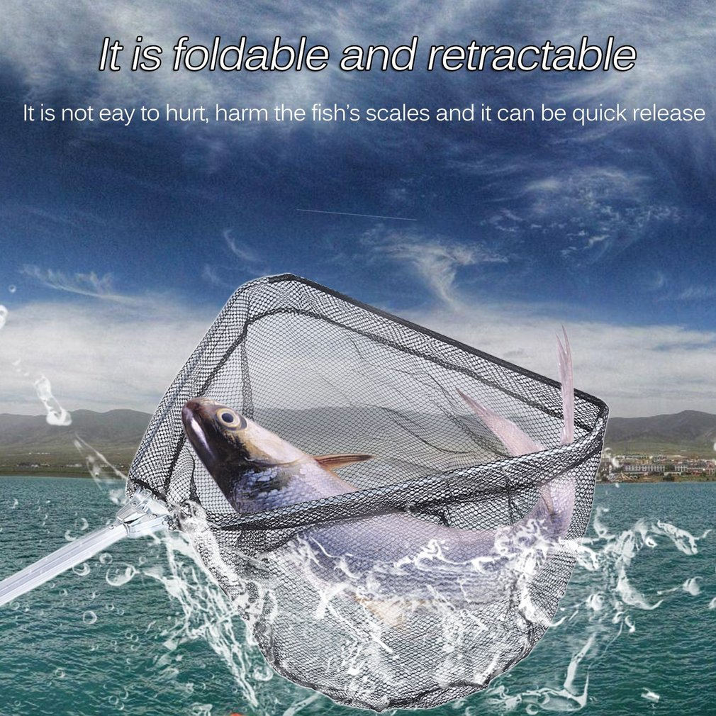 40CM/50CM/60CM Durable Safe Catch Release Hand Fish Landing Net Practical Telescoping Folding Fishing Handle Hoop US Shipping