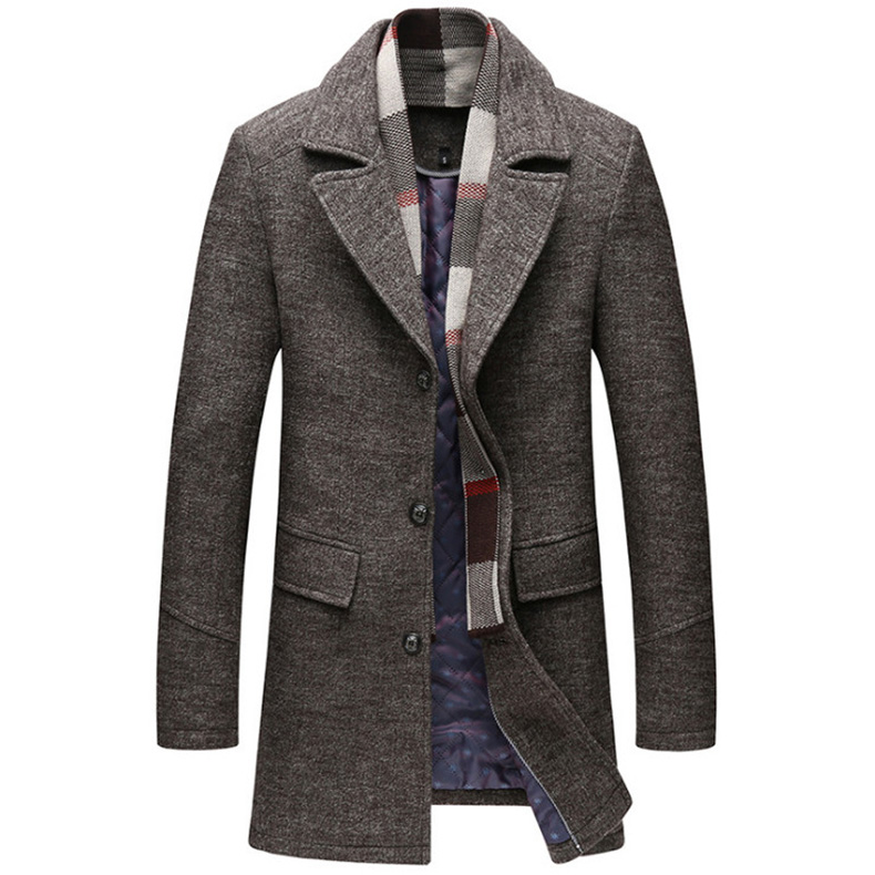 Dropshipping Newest British Style Wool Blends Jacket Men Winter Thick Woolen Coat Detachable Scarf Long Trench Coat Men Overcoat