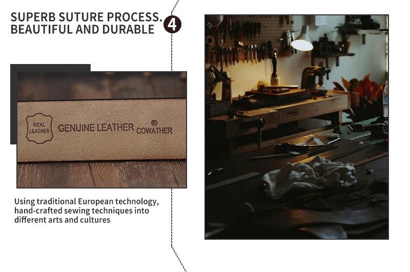 حزام COWATHER جلد طبيعي للرجال 14