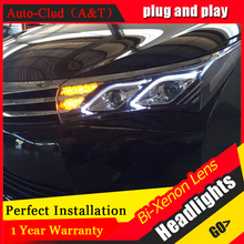Auto Clud Car Styling for 2014 New Corolla Headlight Altis Led Headlight DRL Lens Double Beam H7 HID Xenon bi xenon lens