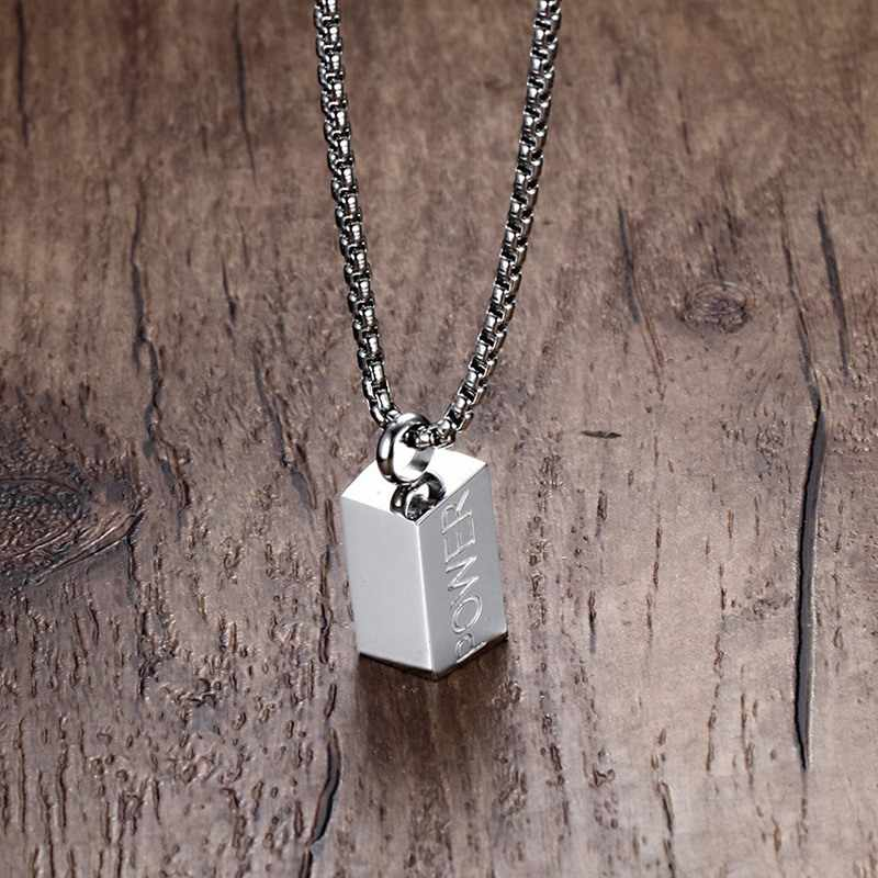 "Mprainbow Men's ""POWER"" Words Necklace In Sliver Stainless Steel Male Pendant Choker Jewelry with 60cm Chain"