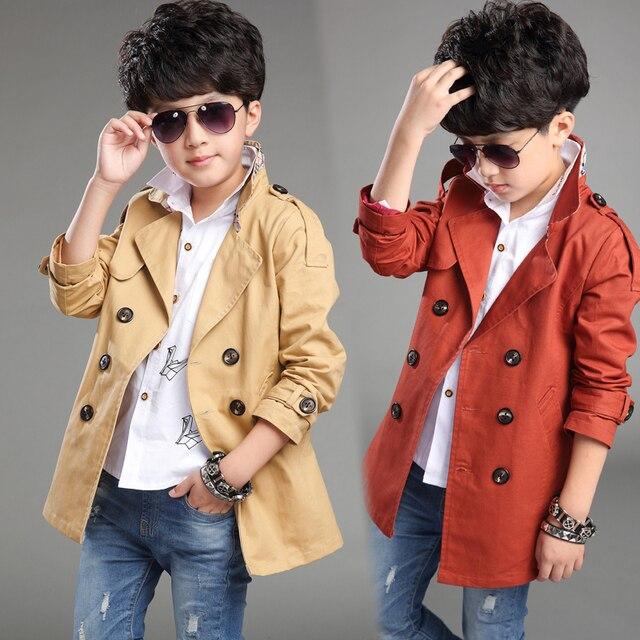 2016 Spring new boy sport leisure coat  children's trench  child Korean version of the long coat for 12-13 age boys   kids