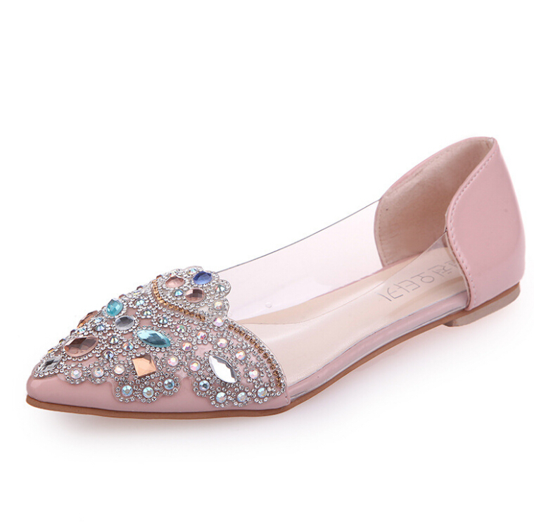Fashion rhinestone Flat Shoes Woman Flats Spring Female Ballet Shoes pointed Toe Solid red Casual transparent  slip on Work Shoe 2017 womens spring shoes casual flock pointed toe narrow band string bead ballet flats flat shoes cover heel women flats shoes