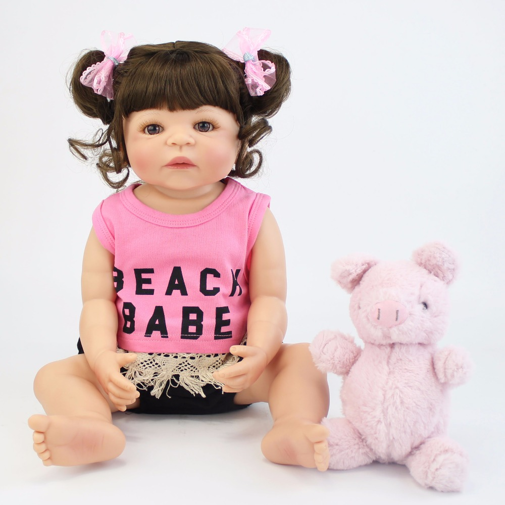 57cm Full Silicone Vinyl Reborn Baby Doll Toy Realistic Cute Newborn Princess Babies Girl Bonecas Bebe Alive Birthday Gift Toy cute truly newborn doll 23 inch fashion baby toy realistic full vinyl silicone babies doll handmade gift for girl reborn boneca