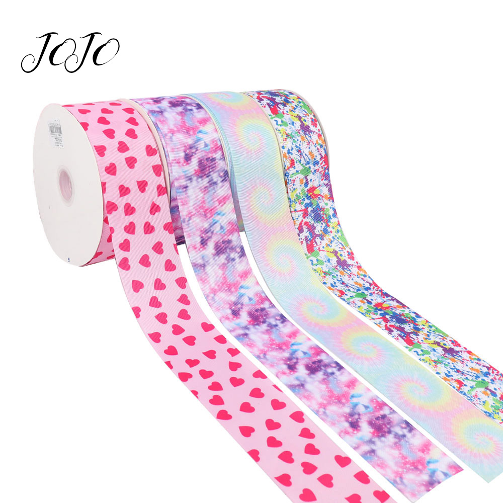 JOJO BOWS 75mm 5y Grosgrain Ribbon Heart Printed Tape For Clothing Apparel Sewing Webbing Handmade Craft Supplies Gift Box Wrap