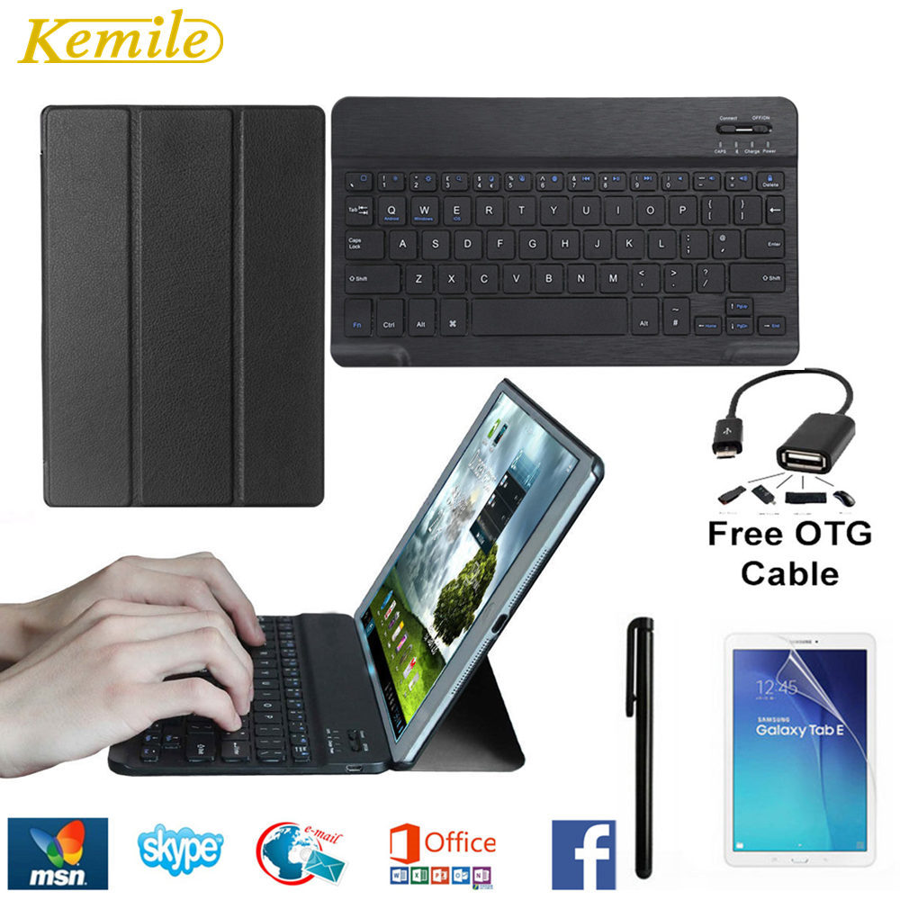 Ultra Thin Smart Folio Leather Case Cover Stand For Samsung Galaxy Tab S2 9.7 T810 T815 Tablet +Wireless Bluetooth Keyboard cuckoodo ultra slim detachable bluetooth keyboard portfolio leather case cover for samsung tab s2 9 7 inch sm t810 tablet