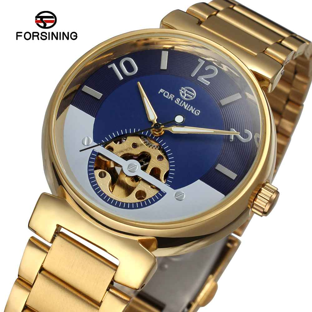 Forsining Creative Watch Golden Stainless Steel Men Watch Luxury Automatic Skeleton Luminous Wristwatch forsining golden stainless steel sport watch steampunk men watch luminous openwork mechanical watches folding clasp with safety