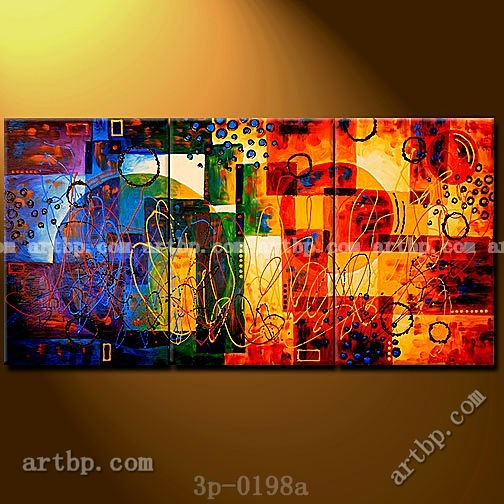 Planetary alignment ii oil painting on canvas modern wall 3 panel 3 pcs set wall