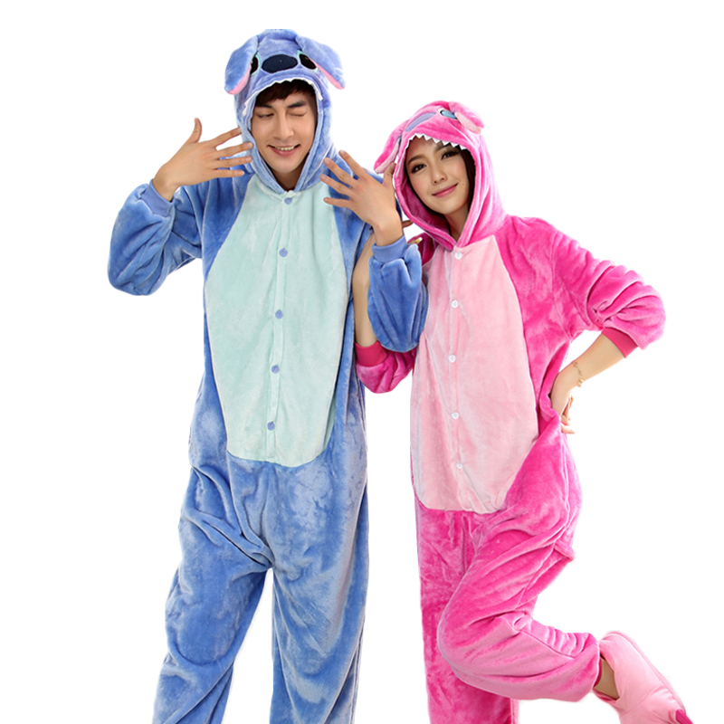 Blue Pink Stitch Onesies For Adults Couples Animal Pajamas Cartoon Cosplay Pyjamas