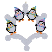 2015 Snowflake Penguins Family of 4 Personalized Ornament