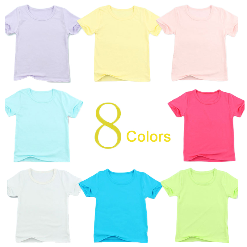 Big Sale Summer Children's T Shirts Baby Boys Girls O Collar Cotton T-shirt Solid Color Kids Casual Sport Tees Clothes Tops image